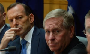 Queensland Premier Campbell Newman (left), Prime Minister Tony Abbott (centre) and Western Australia Premier Colin Barnett during a press conference with state premiers and chief ministers in Canberra, Friday, May 2, 2014. COAG met in Canberra today. (AAP Image/Alan Porritt) NO ARCHIVING