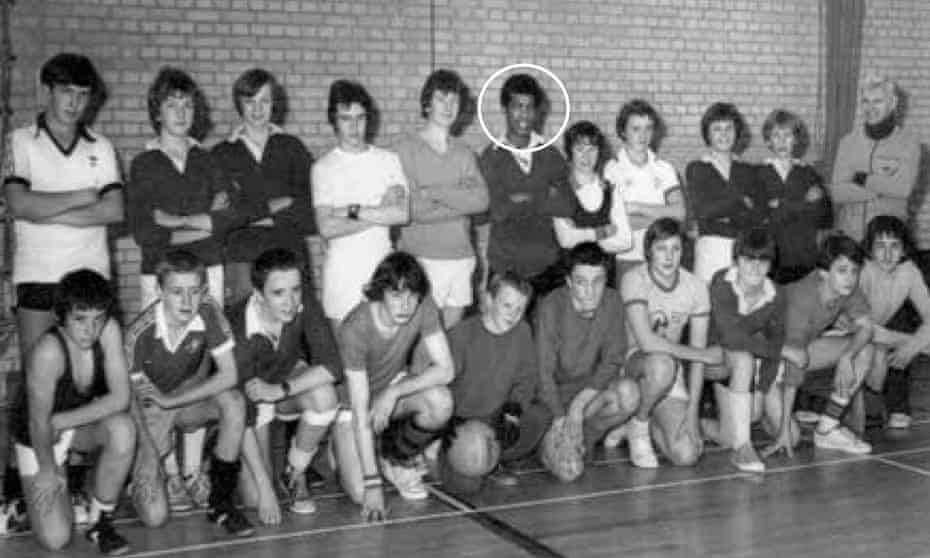 Khalid Masood (circled) appears in a football team photo after a charity match.