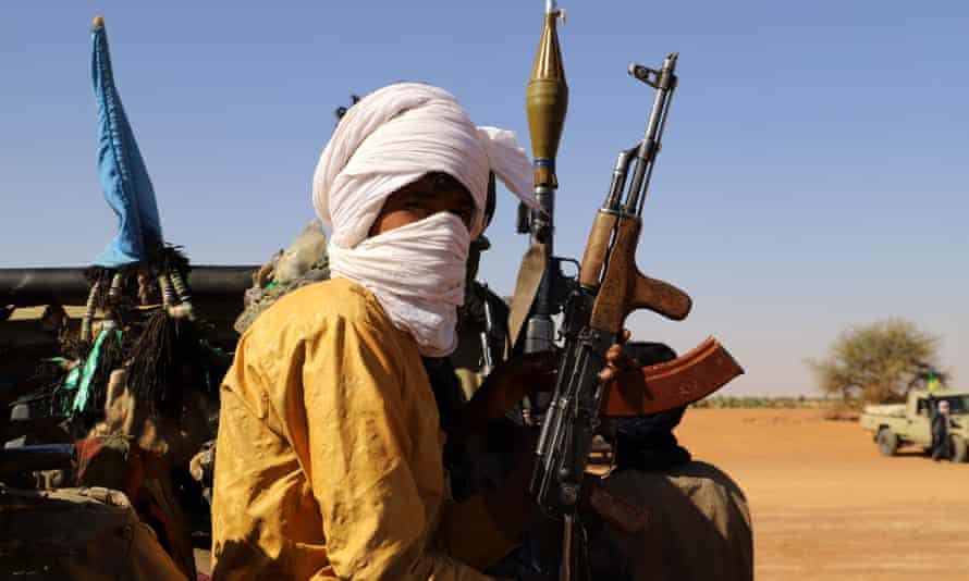 Fighters from a local armed group in the town of Menaka, Mal, a centre of Islamic State activity in the Sahel region