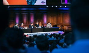 L-R: Jonathan Fisher, Max Rushden, Jonathan Wilson, Barney Roney, Barry Glendenning during Football Weekly Live at the Emmanuel Centre, London.