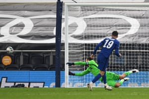 Mason Mount of Chelsea misses his team's fifth penalty in a penalty shoot out.
