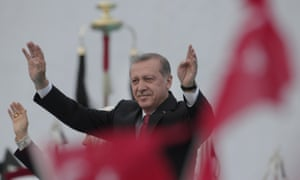 Turkey's President Recep Tayyip Erdoğan waves to crowds during a rally to commemorate the anniversary of Istanbul's conquest by Ottoman Turks 562 years ago.
