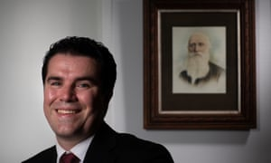 The member for Gellibrand Tim Watts with a portrait of his ancestor John Watts who was in the Queensland parliament.