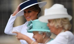 Melania Trump's look to meet the Queen and Duchess of Cornwall was reminiscent of Audrey Hepburn's Eliza Dolittle.
