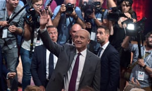 Alain Juppé in Strasbourg on Tuesday night, at his first big regional rally of the primary campaign.