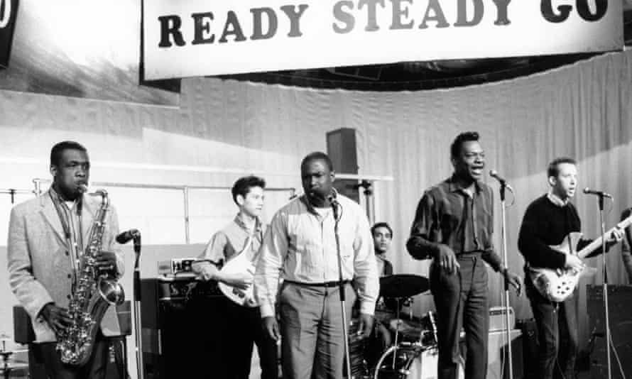 Count Prince Miller, second right, performing with the Vagabonds on Ready Steady Go. Jimmy James is standing next to him in the white shirt.
