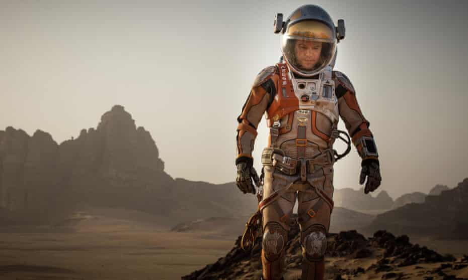 Matt Damon in the film adaptation of Andy Weir's The Martian.