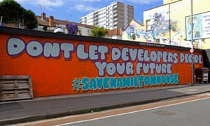 Graffiti supports a campaign to save community hub Hamilton House from being redeveloped into flats.