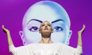 Actor and activist Rose McGowan on stage during her debut stage show Planet 9 at Edinburgh Festival