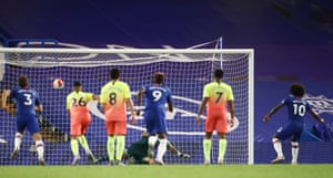Chelsea's Willian scores their second goal from the penalty spot.