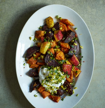 Nik Sharma's roast root veg with pistachio gremolata and yoghurt.