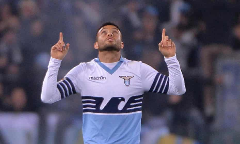 Lazio's Felipe Anderson celebrates after scoring his side's first goal in their Serie A match against Verona.