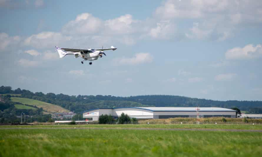 The plane has been built by California company Ampaire, which believes hybrid and – eventually – completely electric planes may be used for short trips.
