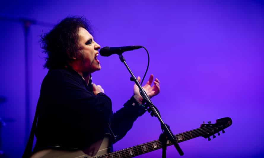 Robert Smith of the Cure, playing on the Pyramid Stage at Glastonbury 2019.