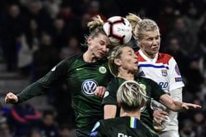 Lyon got the better of Wolfsburg in their Women's Big Cup first leg, 2-1.