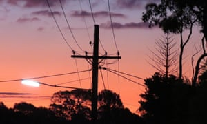 Silhouette of power lines and trees against sunset