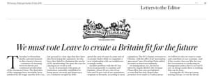 Sunday Telegraph's pro-Brexit editorial.