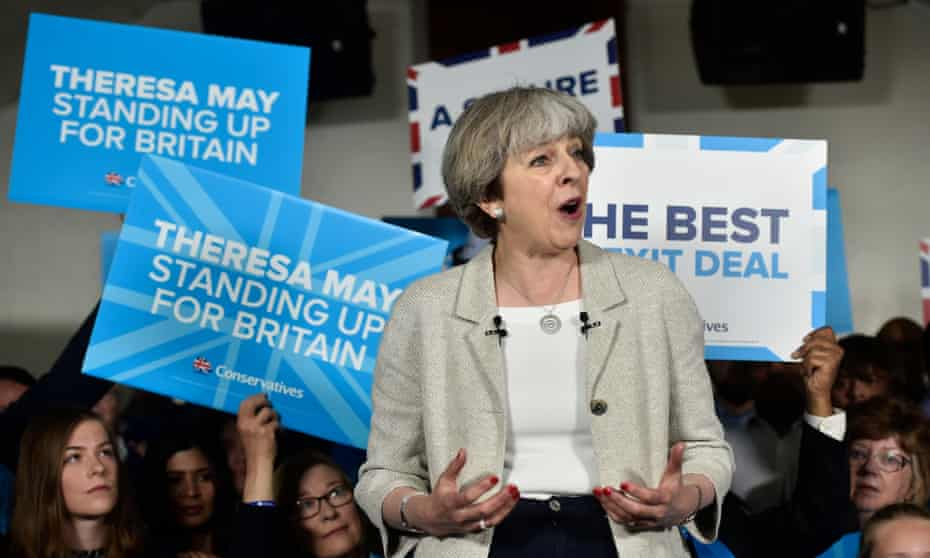 Conservative leader Theresa May campaigning in Dewsbury.