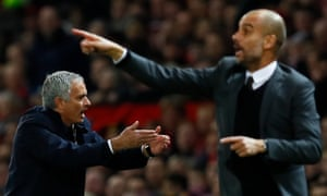 Jose Mourinho, left, and Pep Guardiola are both set to embark on their second seasons at Manchester United and Manchester City respectively