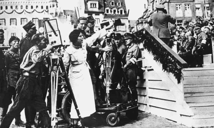 Leni Riefenstahl directs her crew filming of Triumph of the Will at Nuremberg in 1934.