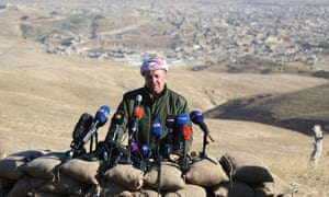 President of KRG Masoud Barzani holds a press conference at Sinjar town on November 13, 2015.