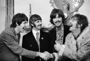 The Beatles at Brian Epstein's home in Belgravia, London at the launch of Sgt. Pepper's Lonely Hearts Club Band in 1967.