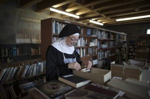 A nun in the temporary library