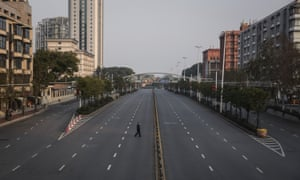 A deserted highway in Wuhan on Monday.