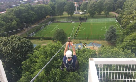 Slide away … Will high above London. Will Coldwell at Zip World Southbank