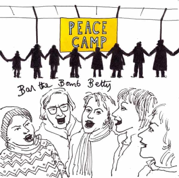 A cartoon commissioned by Betty Farrar's family. Betty is the one in glasses.