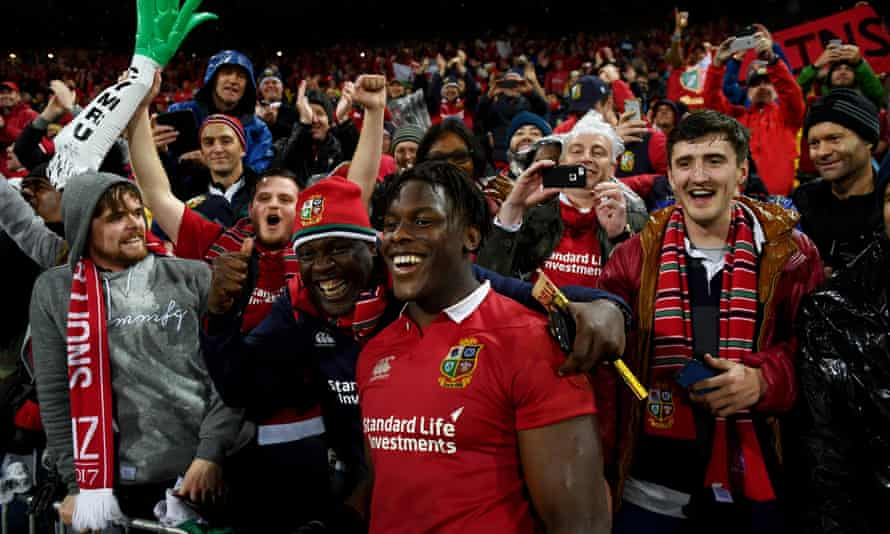 Wellington New Zealand, 1 July 2017;: Maro Itoje of the British & Irish Lions is congratulated by father Efe and supporters following the Second Test match between New Zealand All Blacks and the British & Irish Lions at Westpac Stadium in Wellington, New Zealand.