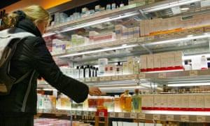 Organic beauty brands in supermarket in Frankfurt