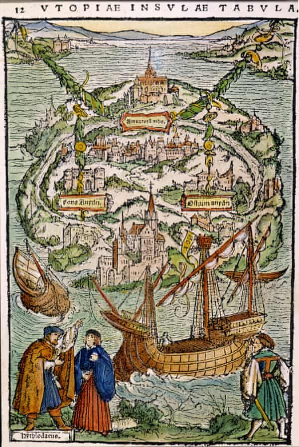 A view of Utopia – Ambrosius Holbein woodcut from a 1518 edition of the book.