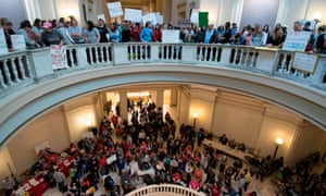 Thousands of teachers and supporters rally at the Oklahoma state capitol.