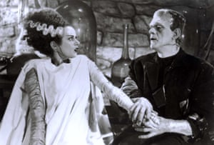 Elsa Lanchester as the Bride, and Boris Karloff as Frankenstein.