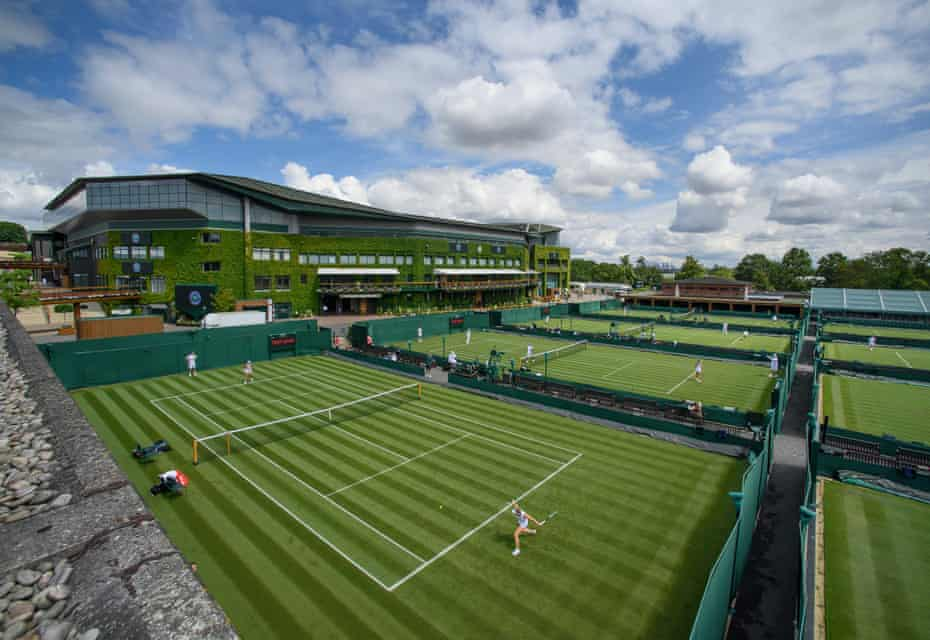 View across the southern outside courts towards the Centre Court as players practice on Friday ahead of The Championships.