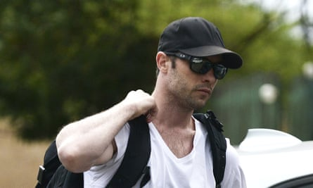 Oscar Pistorius reports for community service at the Garsfontein police station in Pretoria, South Africa.