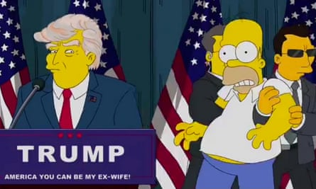 Homer is dragged away by security guards from a Trump rally in a separate animation released in July.