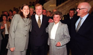 Kennedy celebrates his election as Lib Dem leader in 1999 with his then girlfriend Sarah Gurling and parents, Mary and Ian.