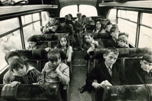 Schoolchildren from Belfast being bused to a refugee centre to escape the Troubles in September 1971.