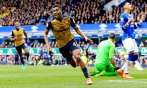 Arsenal's Alex Iwobi celebrates after scoring his side's second goal at Everton.