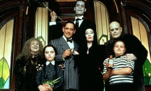 Wig, fake nails, eyelashes, corset … The Addams Family with Christina Ricci (second left) as Wednesday and Anjelica Huston (centre right) as Morticia.