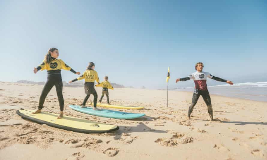 Surf lessons on Santa Cruz's sandy beach