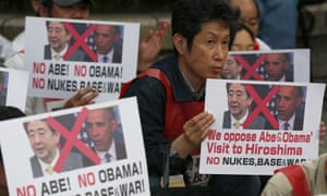 Protesters stage a rally against the visit by U.S. President Barack Obama, near Hiroshima Peace Memorial Museum in Hiroshima