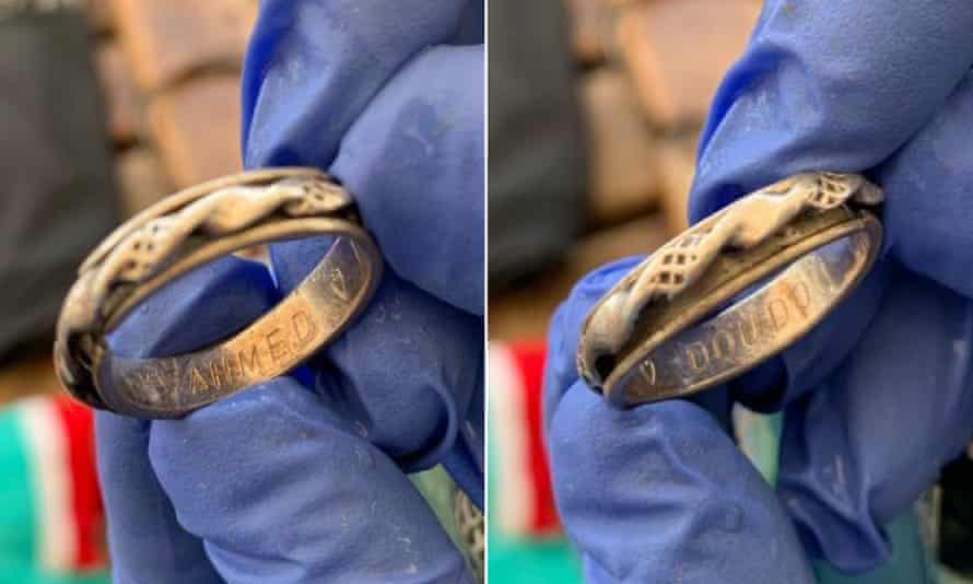 Rings in a rucksack belonging to Algerian couple Ahmed and Doudou that was found in the Mediterranean by the NGO Open Arms in Italy.