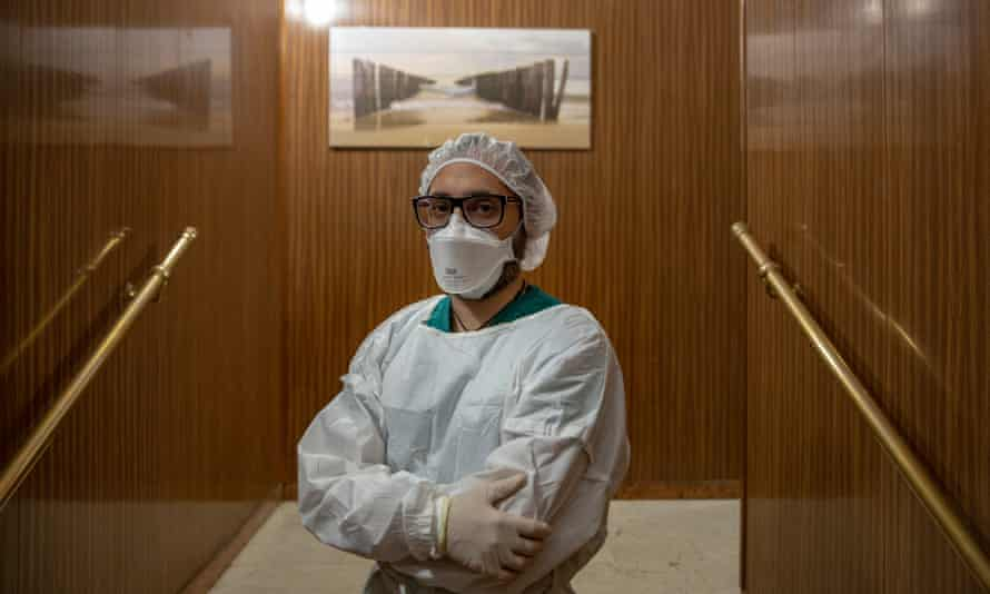 Pietro Orlando, care home worker, in Milan, Italy.