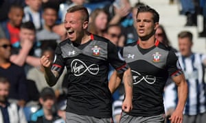 Jordy Clasie celebrates scoring the winning goal for Southampton against West Brom.