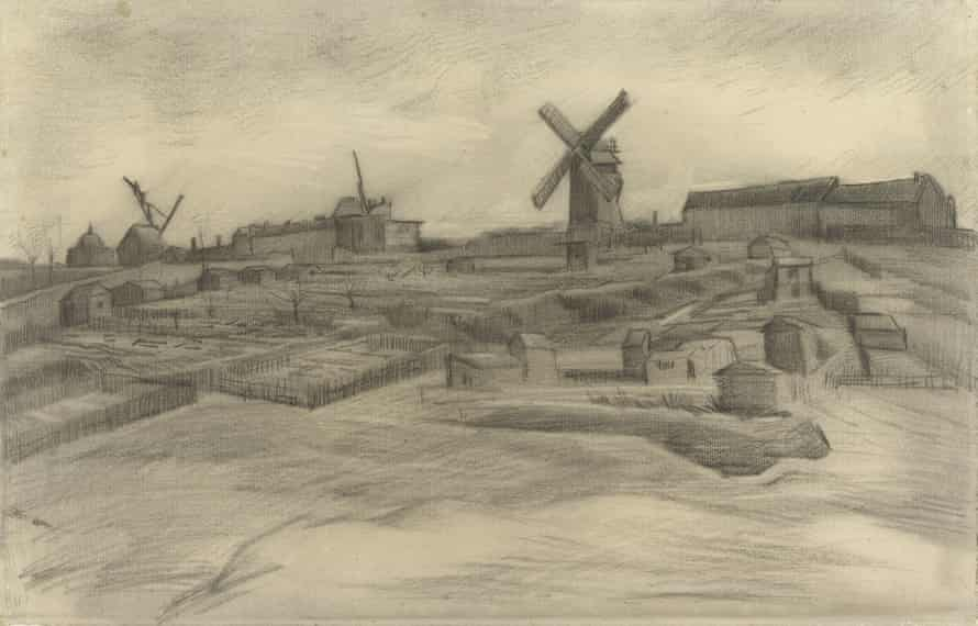 A Van Gogh drawing titled The Hill of Montmartre (1886).