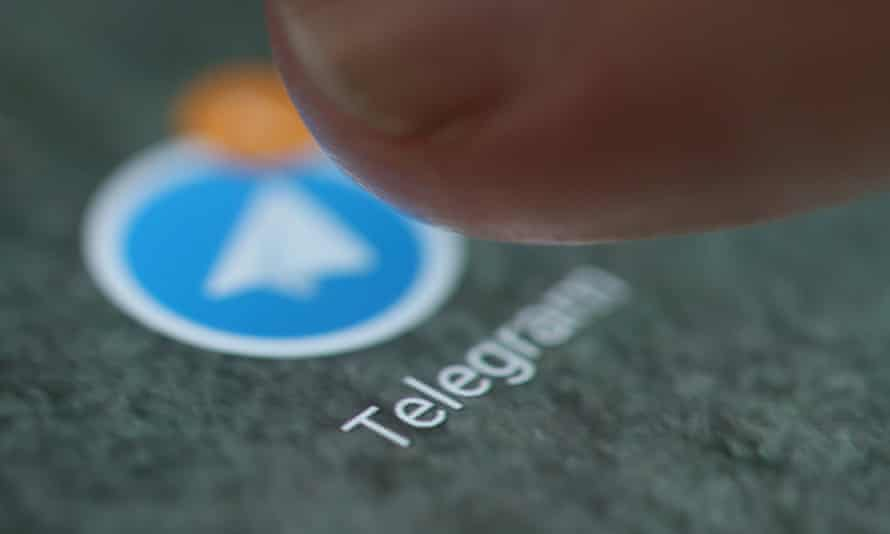 Telegram app logo on  smartphone