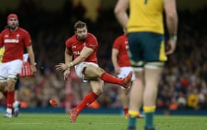 Leigh Halfpenny of Wales kicks a penalty.